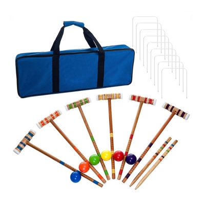 Deluxe Wooden Croquet Ball Set for Six Players