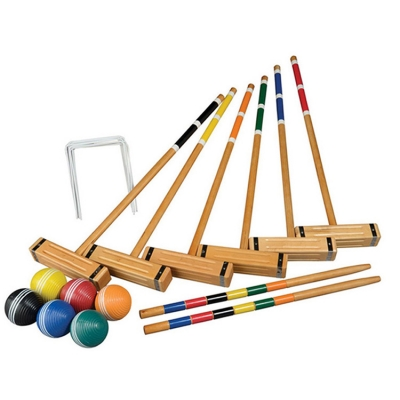 Six-Player Deluxe Croquet Set Lawn Game with Wooden Mallets and Carrying Bag