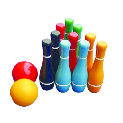 Wood Bowling Yard Game Set with 10 Pins and 2 Balls