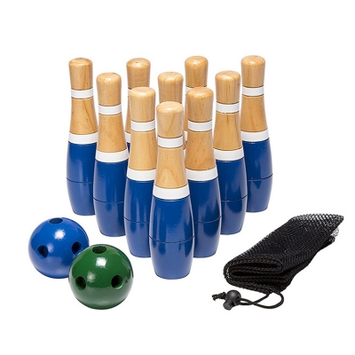 Wooden Lawn Bowling Play Game Set Skittle Ball
